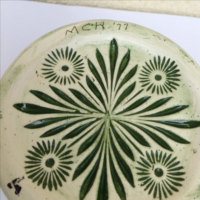 Green Botanical Artisan Pottery Pitcher - Image 4 of 11