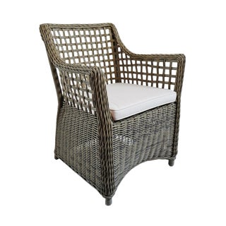 Outdoor Faux Wicker Arm Chair For Sale