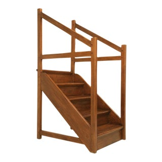 Original Antique English Pine Library Steps For Sale