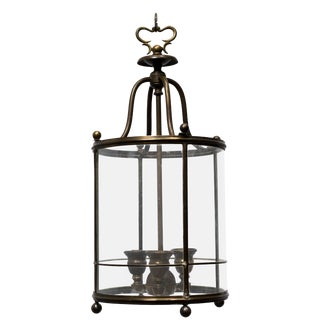 Restored 1930s Brass Lantern With Etched Glass For Sale