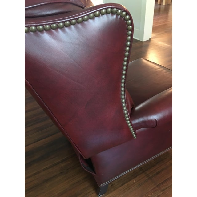 Hancock & Moore Addison Bustle Back Ball & Claw Recliner in Red Leather - Image 9 of 11