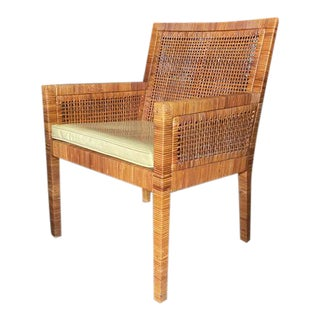 Billy Baldwin for Bielecky Rattan Basket Weave Arm Chair For Sale