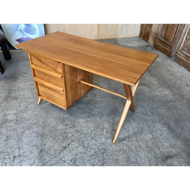 Danish Modern 1950's Maple X-Leg Desk With Bookcase For Sale - Image 3 of 13