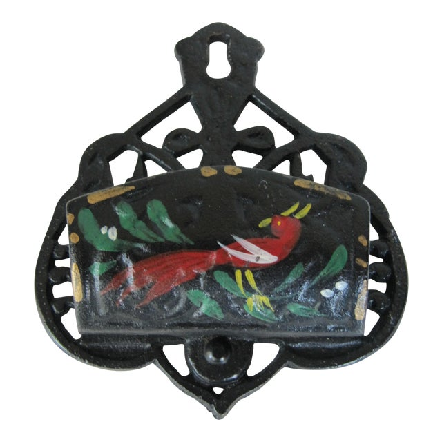 Black Iron Match Safe with Rooster - Image 1 of 5