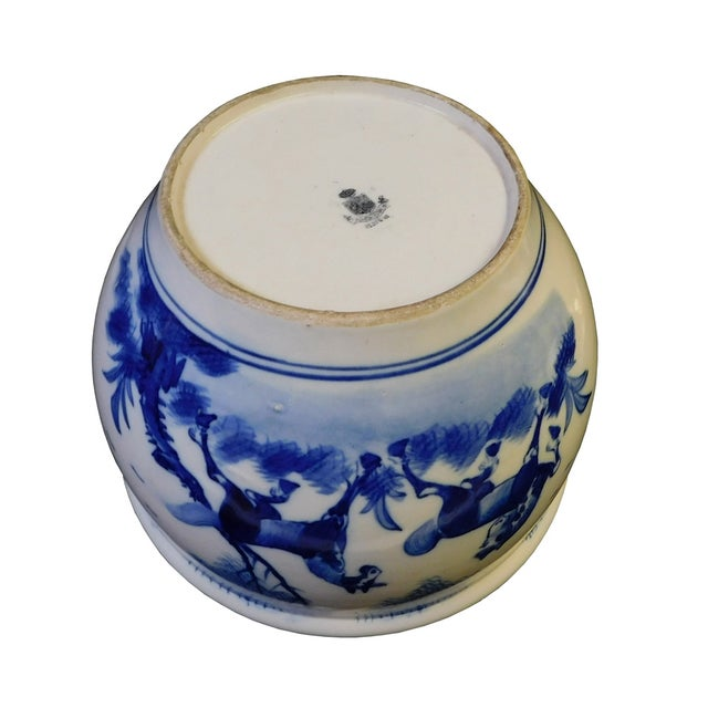 Chinese Blue & White Porcelain Brush Holder For Sale - Image 5 of 6