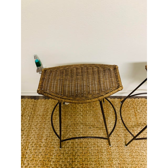 Arthur Umanoff Mid-Century Modern Wrought Iron and Wicker Bar Stools by Arthur Umanoff - a Pair For Sale - Image 4 of 9