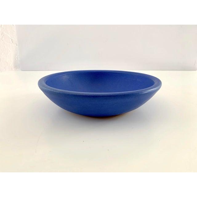 Contemporary Bright Blue Ceramic Bowl For Sale - Image 3 of 11