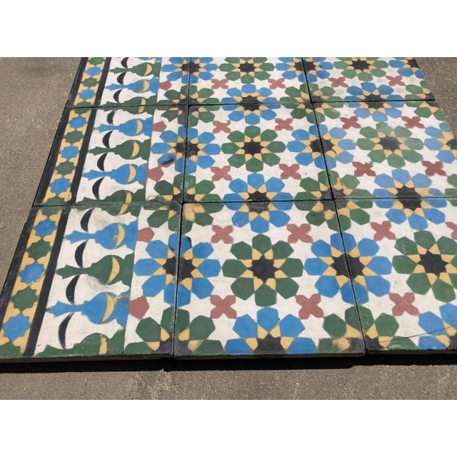 Moroccan Moroccan Encaustic Cement Tiles with Traditional Fez Moorish Design For Sale - Image 3 of 7