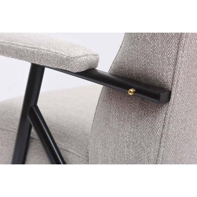 Black 1950s Italian Mid-Century Modern Gray Upholstered Settee For Sale - Image 8 of 10