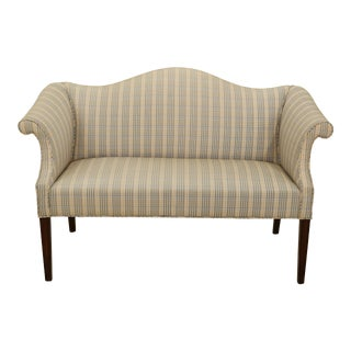 1980s Size Federal Style Camelback Loveseat Bench For Sale