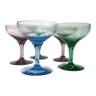 Vintage Multi Colored Champagne Coupes - Set of 5