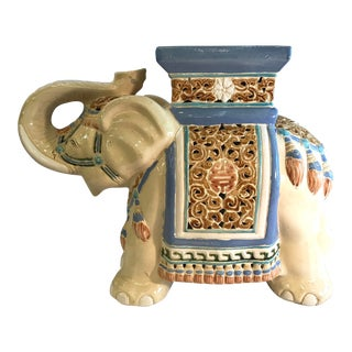 20th Century Boho Chic Elephant Ceramic Garden Stool Seat For Sale