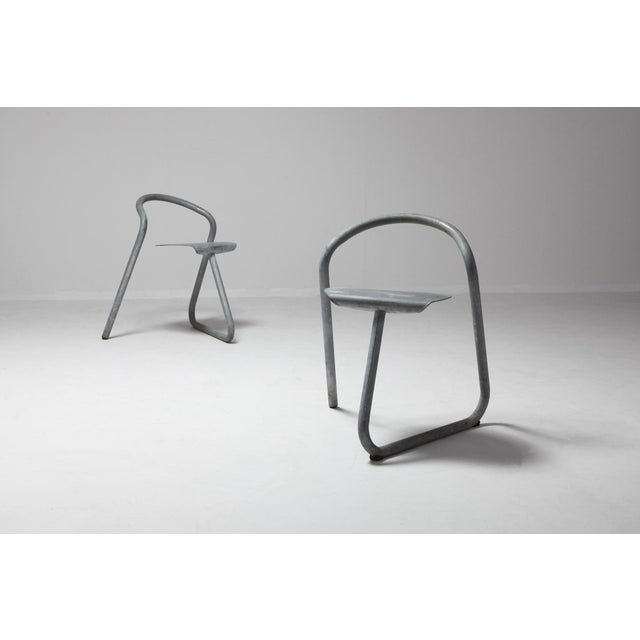 1980s Danish Stackable Chairs in Galvanized Steel by Erik Magnussen, Set of Nine For Sale - Image 5 of 10