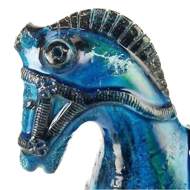 Blue Italian Mid-Century Bitossi Rimini Blue Horse Pottery Sculpture by Aldo Londi For Sale - Image 8 of 13