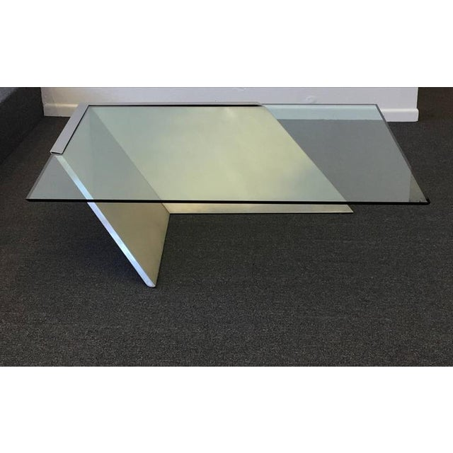 Brushed Stainless Steel and Glass Cocktail Table by Brueton - Image 2 of 9