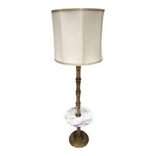 Large James Mont Chinoiserie Solid Brass Bamboo and Carrera Marble Floor Lamp W/ Original Silk Shade For Sale