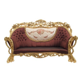 Italian Baroque Burgundy Tufted Settee For Sale