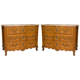 Marble-Top Louis XV Style Commodes - A Pair For Sale