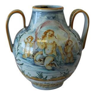 Vintage Italian Ernan Hand Painted Ceramic Vase For Sale