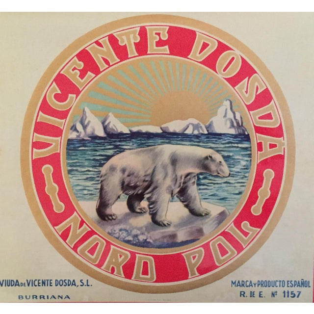 Spanish 1930s Vintage Spanish Polar Bear Label For Sale - Image 3 of 4