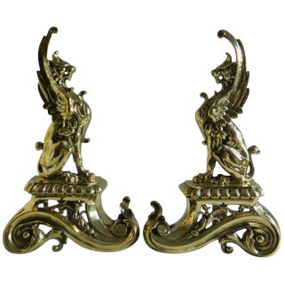 Pair of Brass Chenets or Andirons, Sphinx Motif, 19th Century For Sale