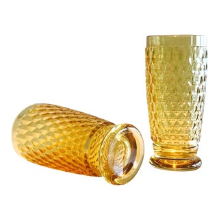 Set of Seven Vintage Villeroy & Boch Crystal Highball Glasses in Amber For Sale