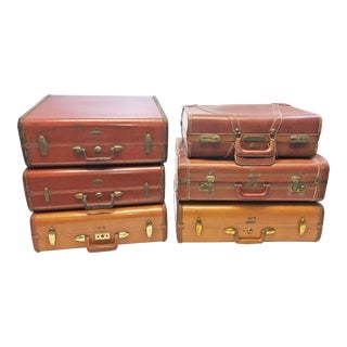 Vintage Brown Leather Suitcases - Set of 6