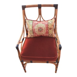 Palecek Bamboo Chair & Accent Pillow For Sale
