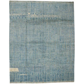 Light Blue Contemporary Moroccan Style Rug with Abstract Design