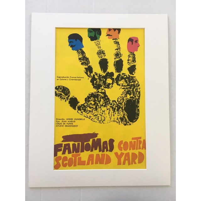 """Illustration 1970s Vintage """"Fantomas Contra Scotland Yard"""" French/Italian Film Poster Print For Sale - Image 3 of 3"""
