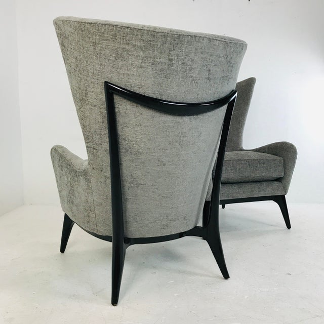 "Wood Caracole ""What's New Pussycat"" Mid-Century Modern Wingback Chairs - a Pair For Sale - Image 7 of 10"