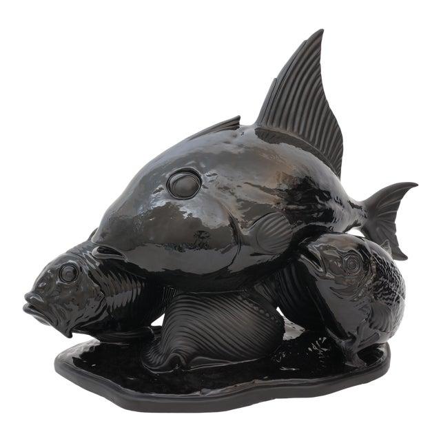 Art Deco 1930s Lejan Style Sculpture School of Fish in Black Ceramic For Sale
