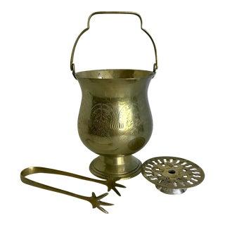 Vintage Embossed Brass Ice Bucket Set - Set of 3 For Sale