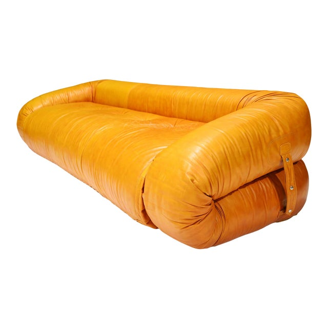 Leather Anfibio Sofa Bed by Alessandro Becchi for Giovannetti Collezioni, 1970s For Sale