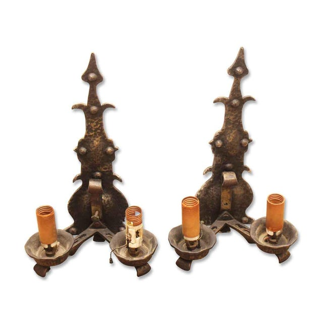 Original Hammered Iron Sconces - a Pair For Sale - Image 4 of 4