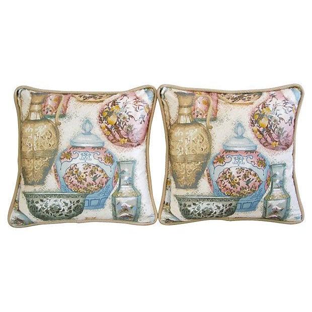 Custom Chinoiserie Vase Pillows - Pair - Image 5 of 7