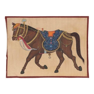 Vintage Indian Mughal Style Gouache Painting on Cloth For Sale