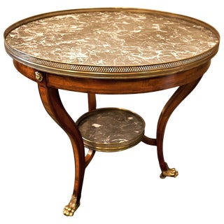 Louis XVI Style Marble-Top Mahogany Gueridon Table, Circa 1940 For Sale