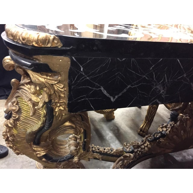 Wood Italian Rococo Style Gilt Console Table For Sale - Image 7 of 13