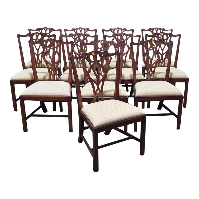 """1990s English Chippendale Dining Chairs by """"Restall, Brown & Clennell Ltd"""" - Set of 12 For Sale"""