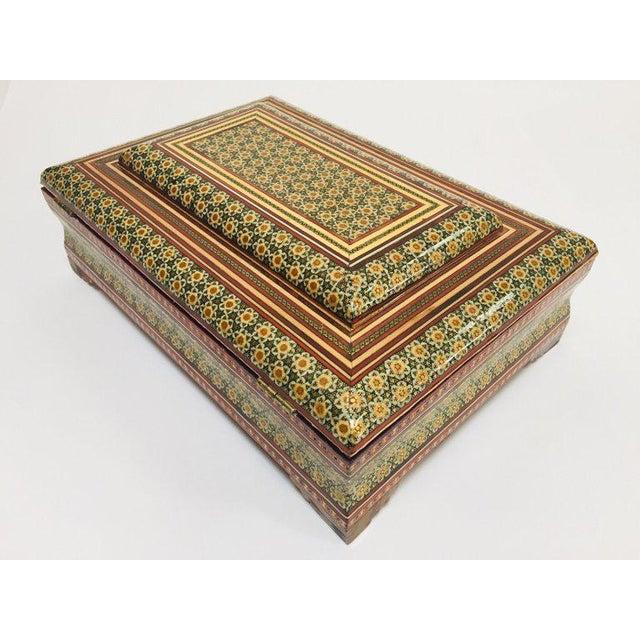Large Persian Jewelry Mosaic Khatam Inlaid Box For Sale - Image 12 of 13