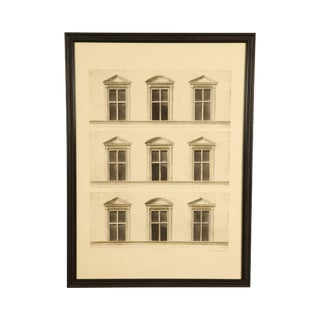 "Sandro Somare ""Prospetto"" Signed Framed Etching of 9 Windows For Sale"