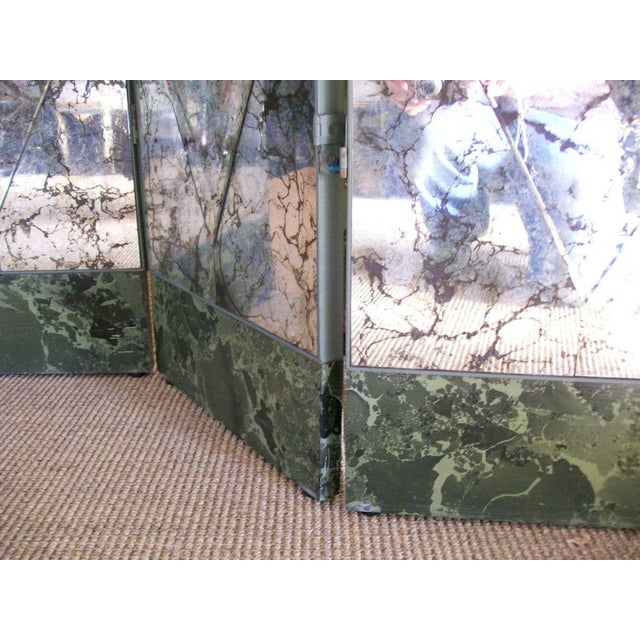 Four-Panel Old and Distressed Mirrored Screen For Sale - Image 4 of 5