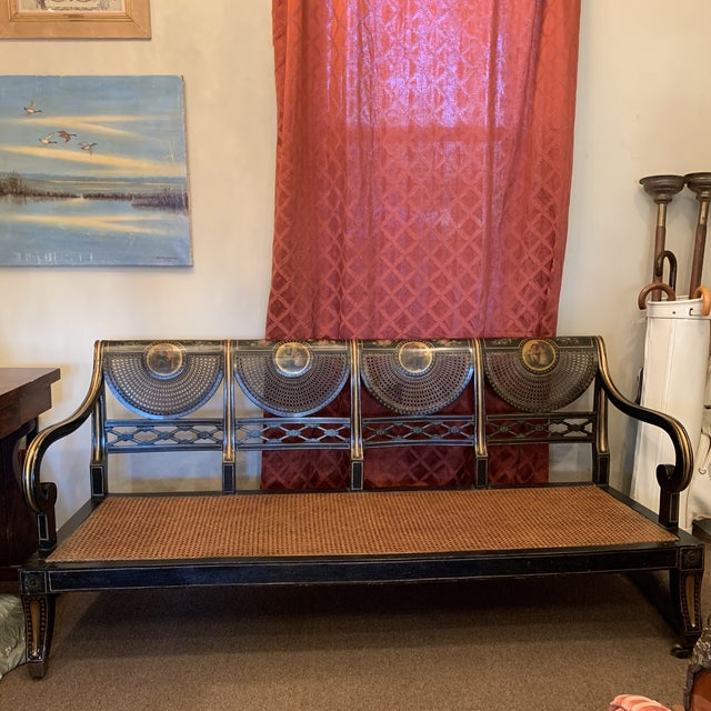 Mid 19th Century Ebonized English Regency Settee With Cane on Casters For Sale - Image 13 of 13