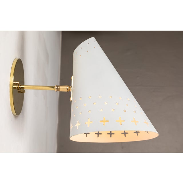 Bent Karlby 1950s Danish Perforated Sconces Attributed to Bent Karlby - a Pair For Sale - Image 4 of 13