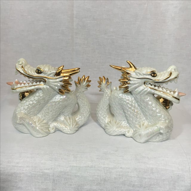 Ceramic White and Gold Dragons - Pair - Image 5 of 5