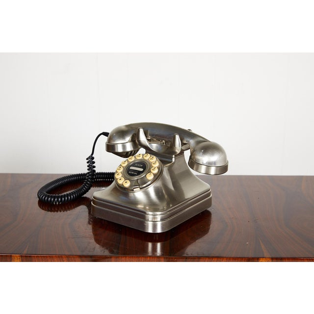 Retro Brushed Nickel Push Button Telephone For Sale - Image 9 of 9