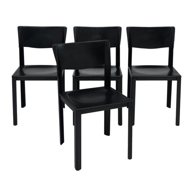 Vintage Black Leather Saporiti Chairs - Set of 4 For Sale