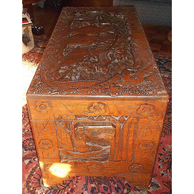 Early 20th Century Antique Original Hand Carved Mahogany Chest/Coffee Table-Camphorwood Lined For Sale - Image 5 of 10