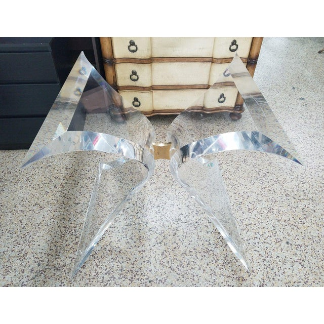 1970's Lion in Frost Butterfly Lucite Table Base For Sale In Miami - Image 6 of 11